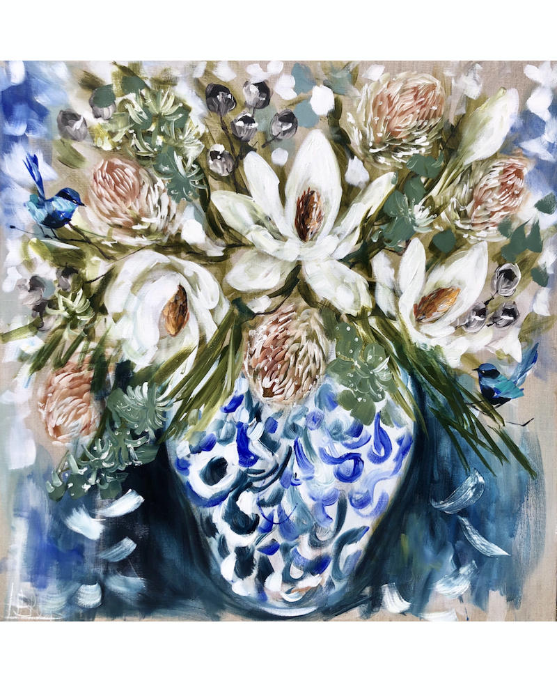 (CreativeWork) antique Vase and magnolias  by Amanda Brooks. acrylic-painting. Shop online at Bluethumb.