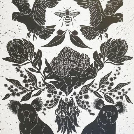 (CreativeWork) Australiana Lino print Ed. 7 of 150 by Marinka Parnham. Print. Shop online at Bluethumb.