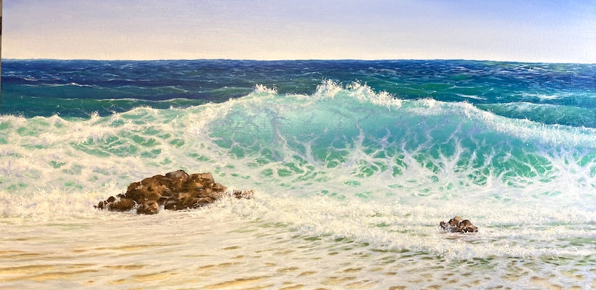 (CreativeWork) Teal Waters by Janet Claydon. Oil Paint. Shop online at Bluethumb.