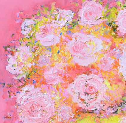 (CreativeWork) ABSTRACT ROSES STILL LIFE by Jan Matson. Oil Paint. Shop online at Bluethumb.