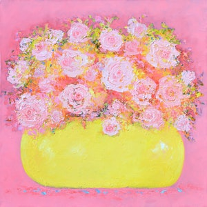 (CreativeWork) ABSTRACT ROSES STILL LIFE by Jan Matson. oil-painting. Shop online at Bluethumb.