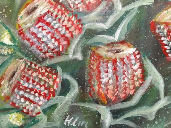 (CreativeWork) Dreams To Manifest - Scarlet Banksia and Billy Button  by HSIN LIN. Acrylic Paint. Shop online at Bluethumb.