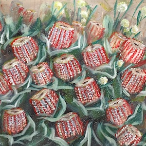 (CreativeWork) Dreams To Manifest - Scarlet Banksia and Billy Button  by HSIN LIN. arcylic-painting. Shop online at Bluethumb.