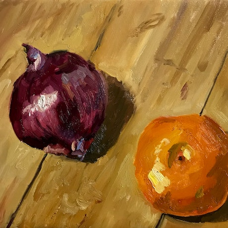 (CreativeWork) An onion and a mandarin by James Needham. Oil Paint. Shop online at Bluethumb.