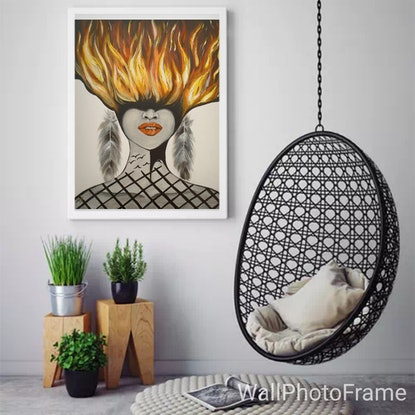 (CreativeWork) The Woman in Mirror by Minoo Masih. Acrylic Paint. Shop online at Bluethumb.