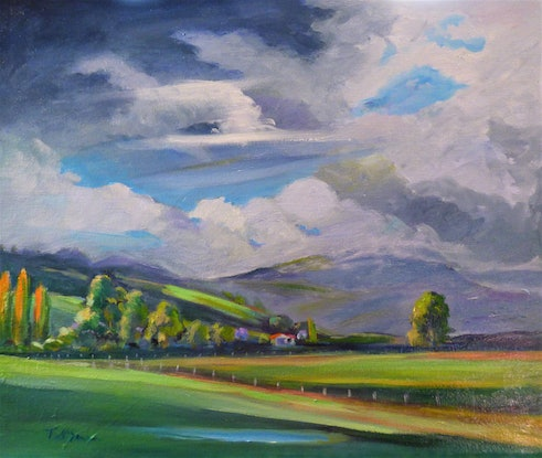 (CreativeWork) Liverpool Plains stormy day NSW.  by Virginia McGowan. Oil Paint. Shop online at Bluethumb.