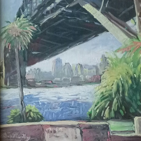(CreativeWork) Morning at Dawes Point  by Christopher McCarthy. Oil Paint. Shop online at Bluethumb.