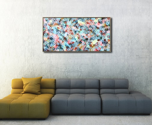 (CreativeWork) Bio Bloom Rock-Pool Camouflage I – Large Original Framed Painting by Jacquelyn Stephens. Mixed Media. Shop online at Bluethumb.