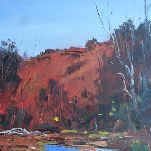 (CreativeWork) Outback Waterhole by Rod Moore. arcylic-painting. Shop online at Bluethumb.