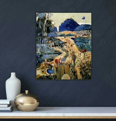 (CreativeWork) Abstract landscape  - Moonlight by Susan Trudinger. Acrylic Paint. Shop online at Bluethumb.