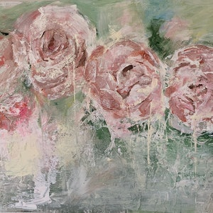 (CreativeWork) Peony Abstraction by Lani Kay. acrylic-painting. Shop online at Bluethumb.