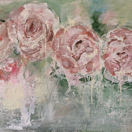 (CreativeWork) Peony Abstraction by Lani Kay. Acrylic Paint. Shop online at Bluethumb.