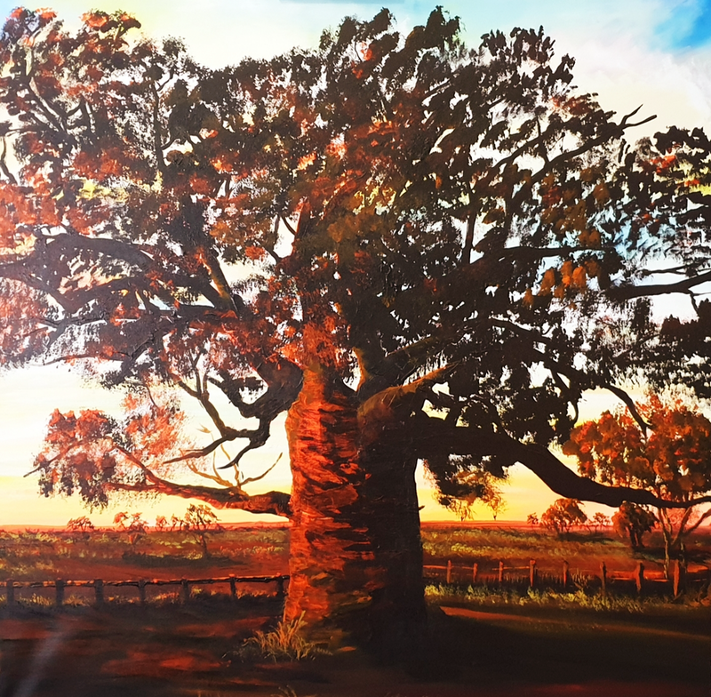 (CreativeWork) The Dinner Tree by Heather Murchie. Acrylic Paint. Shop online at Bluethumb.