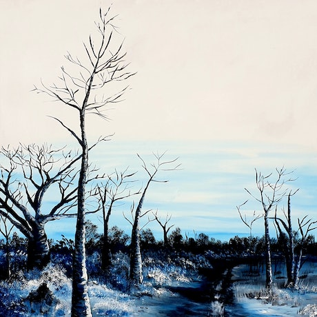 (CreativeWork) Boabs in blue...May River  by Heather Murchie. Acrylic Paint. Shop online at Bluethumb.
