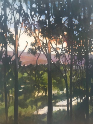 (CreativeWork) Just  On Dusk by Leanne Manns. Acrylic Paint. Shop online at Bluethumb.