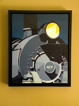(CreativeWork) Night Train by Colin Madgwick. Oil Paint. Shop online at Bluethumb.