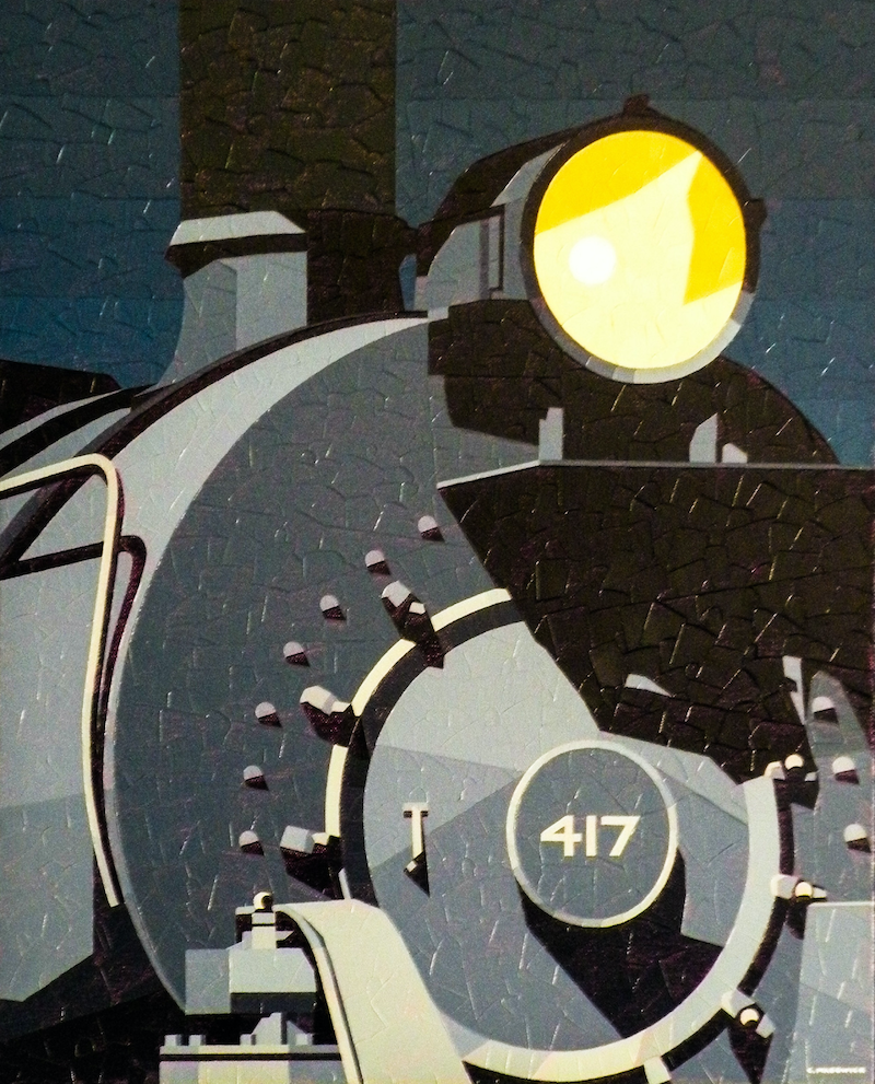 (CreativeWork) Night Train by Colin Madgwick. oil-painting. Shop online at Bluethumb.