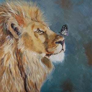 (CreativeWork) Limited Edition Fine Art Print - A Butterfly and a Lion Ed. 1 of 10 by Julie Hollis. print. Shop online at Bluethumb.