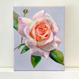 (CreativeWork) English Rose by Holly Harper. oil-painting. Shop online at Bluethumb.