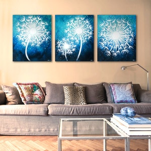 (CreativeWork) MAKE-A-WISH Triptych, In The Blues by Nevena Nikolic. arcylic-painting. Shop online at Bluethumb.
