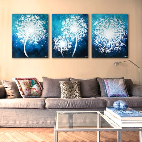 (CreativeWork) MAKE-A-WISH Triptych, In The Blues by Nevena Nikolic. Acrylic Paint. Shop online at Bluethumb.