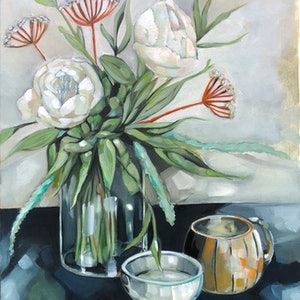 (CreativeWork) White Peonies by Sam Suttie. oil-painting. Shop online at Bluethumb.