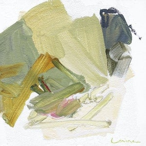 (CreativeWork) Iris study - square sage mustard khaki olive pink grey abstract by Stephanie Laine. arcylic-painting. Shop online at Bluethumb.
