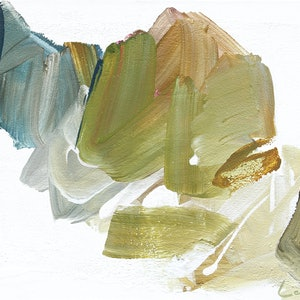(CreativeWork) Tether study -  sage mustard khaki olive blue abstract  by Stephanie Laine. arcylic-painting. Shop online at Bluethumb.