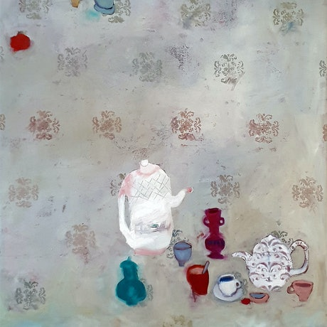 (CreativeWork) Afternoon Tea by Elizabeth Wojciak. Oil Paint. Shop online at Bluethumb.