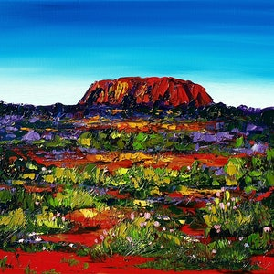 (CreativeWork) Uluru-Kata Tjuta National Park - Framed - Landscape by Angela Hawkey. Oil Paint. Shop online at Bluethumb.
