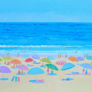 (CreativeWork) AUSTRALIAN BEACH HOLIDAY by Jan Matson. oil-painting. Shop online at Bluethumb.