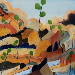 (CreativeWork) Creek by Doodie Herman. arcylic-painting. Shop online at Bluethumb.
