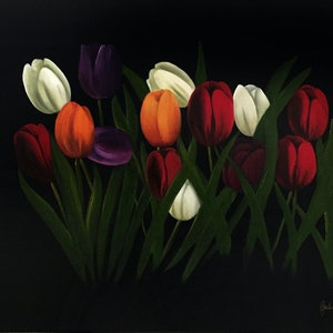 (CreativeWork) Tulipa by Gerlinde Thomas. oil-painting. Shop online at Bluethumb.