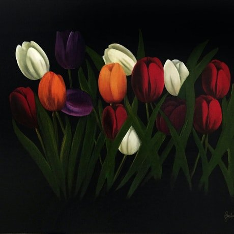 (CreativeWork) Tulipa by Gerlinde Thomas. Oil Paint. Shop online at Bluethumb.