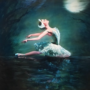 (CreativeWork) Swan Lake by Jan Brown. oil-painting. Shop online at Bluethumb.