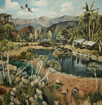 (CreativeWork) Palm Trees and Galahs - (COMMISSION) by Susan Trudinger. Acrylic Paint. Shop online at Bluethumb.