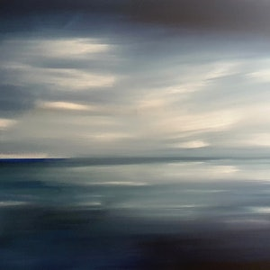 (CreativeWork) Distant Shore by Alice Howell. oil-painting. Shop online at Bluethumb.
