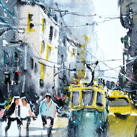 (CreativeWork) Busy Melbourne City by Chrysovalantou Mavroudis. Watercolour Paint. Shop online at Bluethumb.