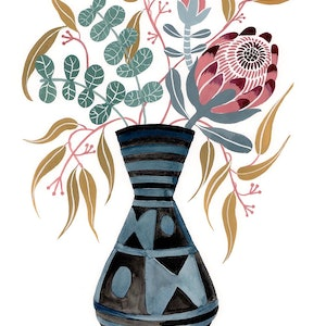 (CreativeWork) Natives in Ankara Vase by Sally Browne. #<Filter:0x00007f3c365f0040>. Shop online at Bluethumb.
