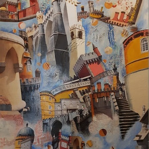 (CreativeWork) Castles in The Air by Helen Saint-Smith. mixed-media. Shop online at Bluethumb.