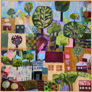 (CreativeWork) Village by Sandra Oost. mixed-media. Shop online at Bluethumb.