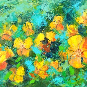 (CreativeWork) The Golden Garden by Colleen Clark. mixed-media. Shop online at Bluethumb.