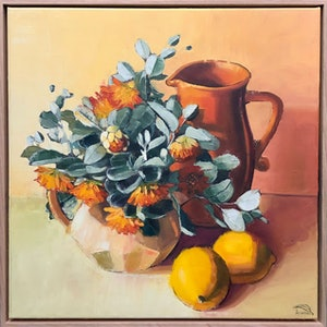 (CreativeWork) Tamala rose in orange and lemon (framed) by kirsty mcintyre. oil-painting. Shop online at Bluethumb.