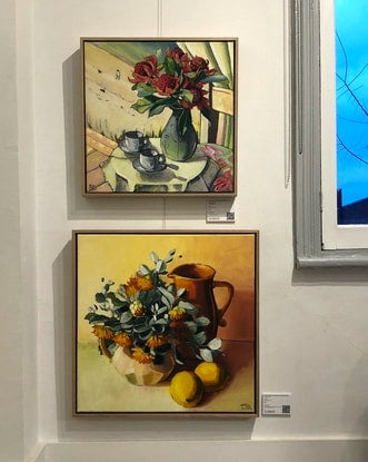 (CreativeWork) Tamala rose in orange and lemon (framed) by kirsty mcintyre. Oil Paint. Shop online at Bluethumb.