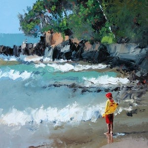 (CreativeWork) Noosa Beach by Claire McCall. oil-painting. Shop online at Bluethumb.