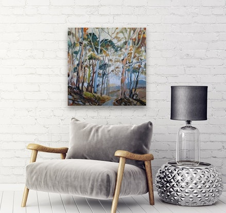 (CreativeWork) Australian Landscape - Gum Trees and Kookaburras by Susan Trudinger. #<Filter:0x000055a2488a0e40>. Shop online at Bluethumb.