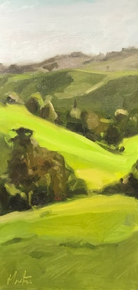 (CreativeWork) Rolling hills  by Chris Martin. Oil Paint. Shop online at Bluethumb.