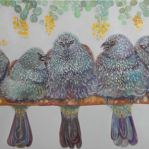 (CreativeWork) All the CWA ladies / apostle birds by Joanne Scriha. oil-painting. Shop online at Bluethumb.