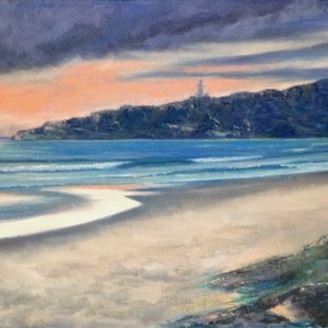 (CreativeWork) Byron Sunset by Anne Strambi. oil-painting. Shop online at Bluethumb.