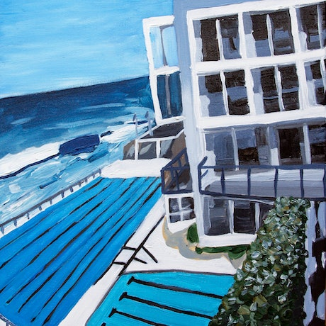 (CreativeWork) Afternoon at Bondi Icebergs by James Lai. Acrylic Paint. Shop online at Bluethumb.